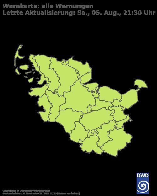 Aktuelle Wetterwarnungen für Nordfriesland - Küste